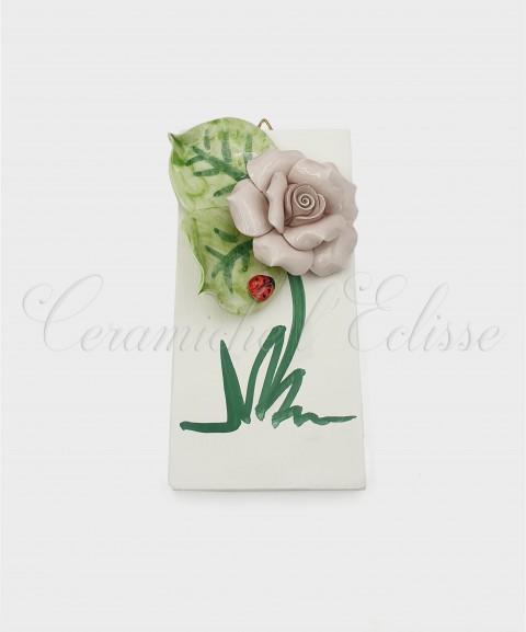 Quadretto con Fiore in ceramica artistica di Vietri rosa Rosa