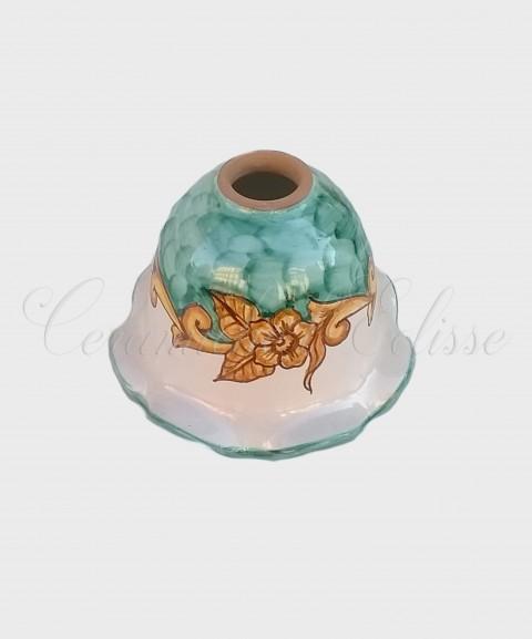 Coppetta Applique in ceramica di Vietri con Merletto Decorata verde