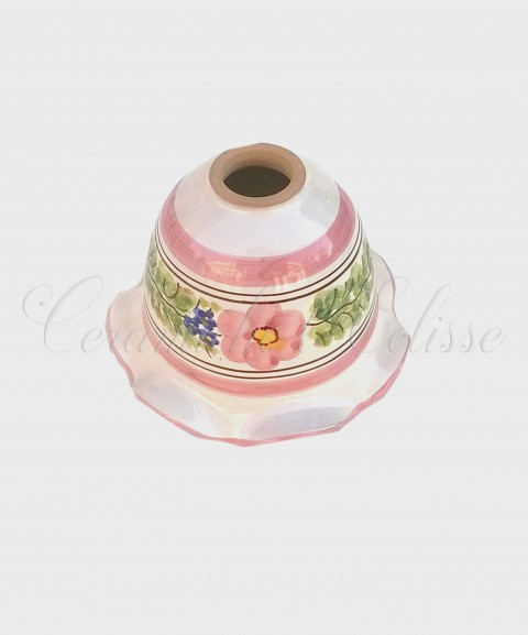 Coppetta Applique in ceramica di Vietri con Merletto Decorata rosa