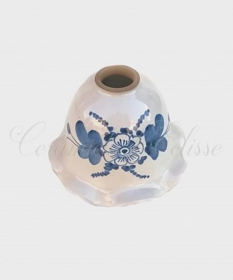 Coppetta Applique in ceramica di Vietri con Merletto Decorata blu