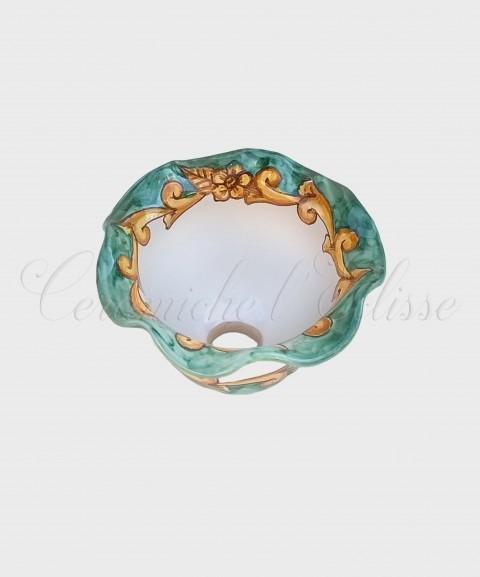 Coppetta Applique in ceramica di Vietri con Merletto Decorata barocco verde
