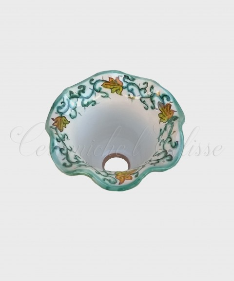 Coppetta Applique in ceramica di Vietri con Merletto Decorata tralcio semplice verde
