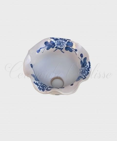 Coppetta Applique in ceramica di Vietri con Merletto Decorata  fiore blu