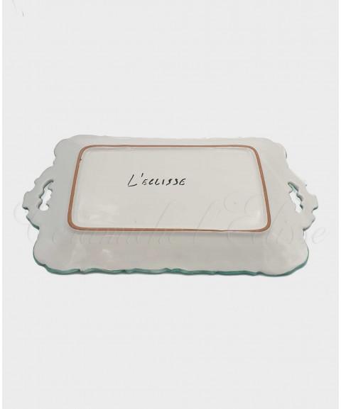 Vassoio in ceramica di vietri Con Bordo Merlettato Decoro Fiorato retro
