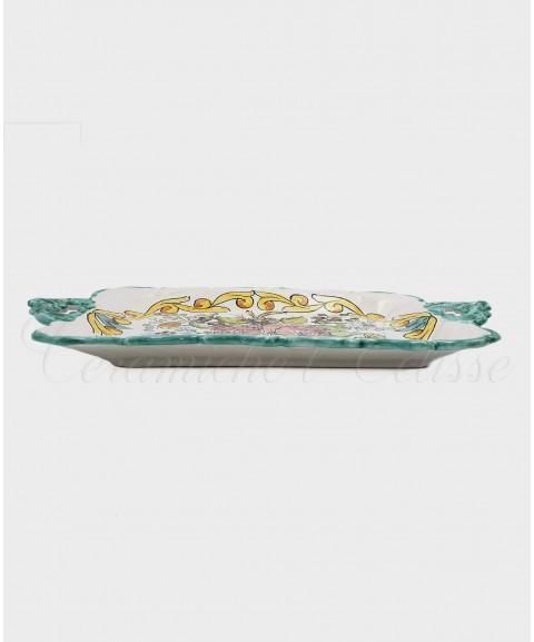 Vassoio in ceramica di vietri Con Bordo Merlettato Decoro Fiorato laterale