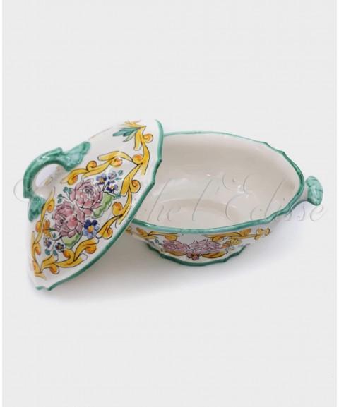 Zuppiera in ceramca di vietri modello Borghese Decorata Bouquet Rose