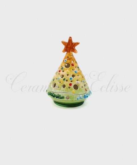 Lanterna Natalizia ad Albero di Natale Sfumato a Pois giallo