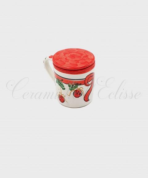 Tazza per Tisane Natalizia in cermaica di Vietri con Fiocco Rosso chiusa