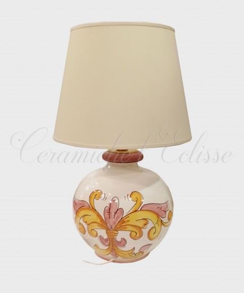 Lampada da Tavolo in Ceramica di vietri Fiorata giglio paralume bianco