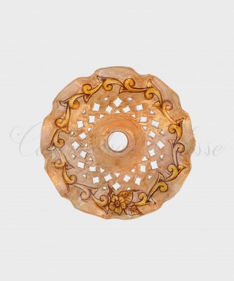 Lampadario Piatto Traforato Merlettato Barocco Austria in ceramica di Vietri
