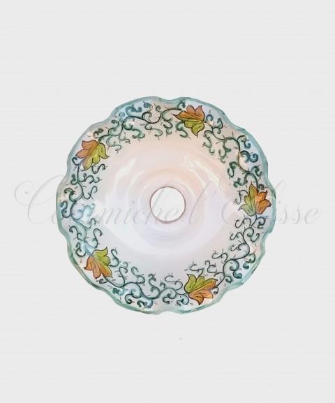 Lampadario in Ceramica di Vietri Pieno Floreale Tralcio verde Interno