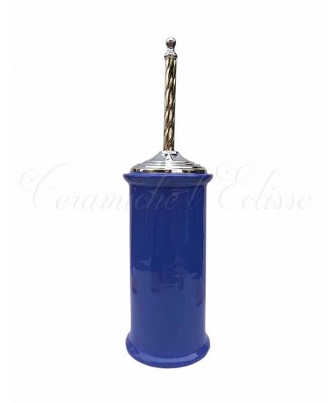 arredo bagno portascopino in ceramica di vietri moderno blu cromato