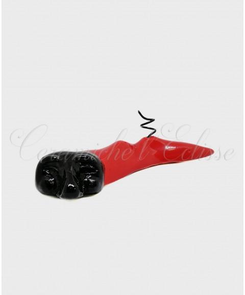Corno Portapenna di Pulcinella con del Vesuvio in ceramica artistica di vietri fronte