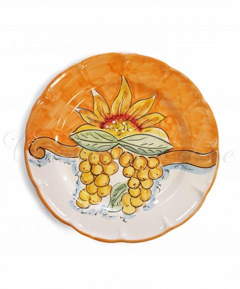 Piatto piano in ceramica di vietri girasole e frutta Arancione con uva
