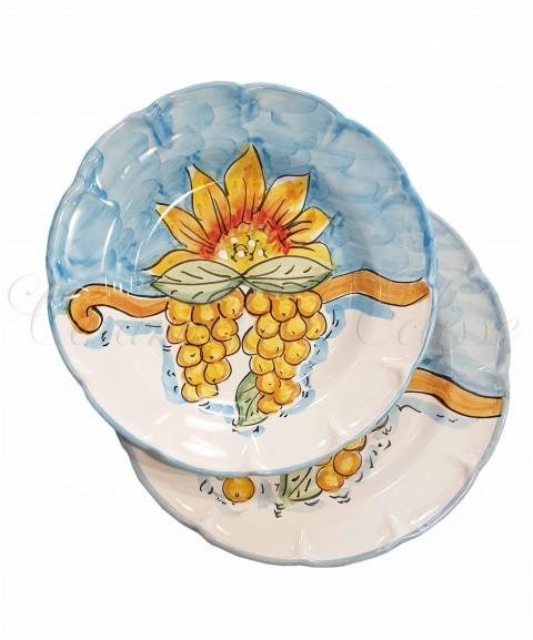 Piatto in ceramica di vietri girasole e frutta Azzurro con uva