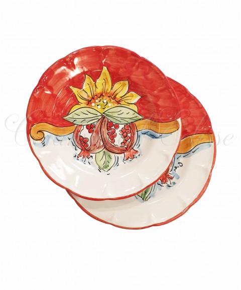 Coppia Piatti in ceramica di vietri girasole e frutta rosso con melograno