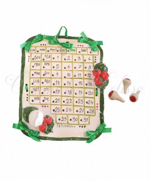 Calendario da Parete in Ceramica di Vietri con Pioli Segna Data