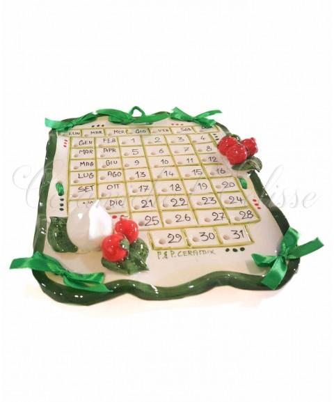 Calendario in Ceramica di Vietri decoro caprese 3/4