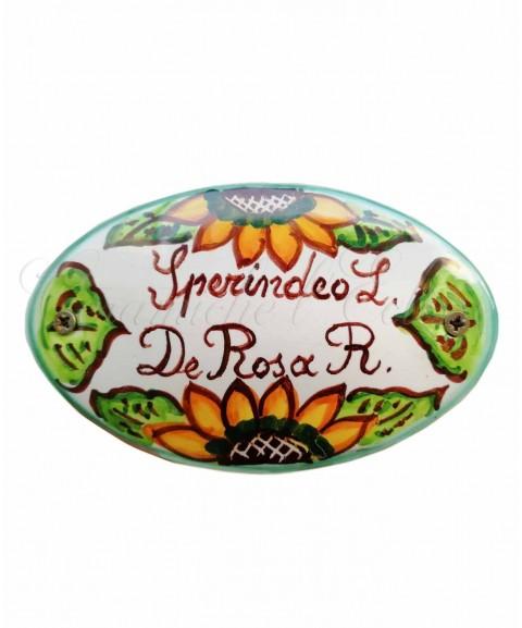 Targa nominativa porta girasoli in ceramica di vietri