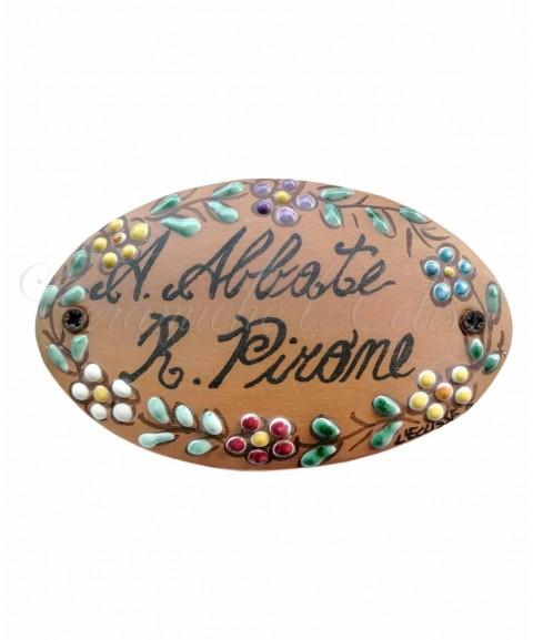 Targhetta Nominativo porta in ceramica di vietri terracotta fiorata