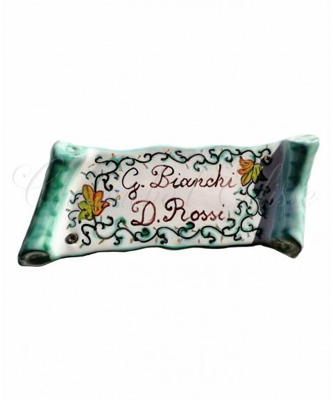 Targa Fuori Porta a Pergamena in ceramica di vietri