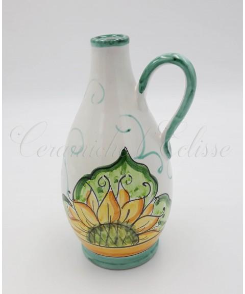 Oliera a Goccia in ceramica di Vietri con girasole verde
