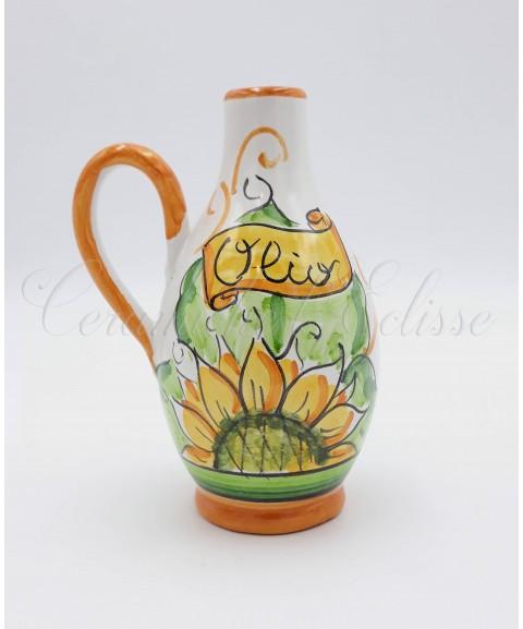 Oliera a Goccia in ceramica di Vietri con girasole arancione
