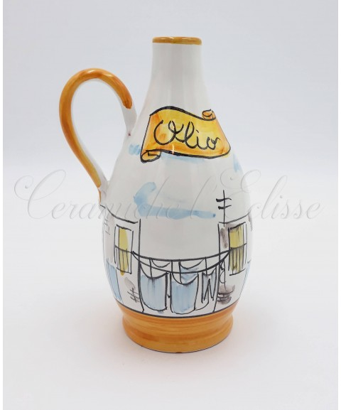 Oliera a Goccia in ceramica di vietri Con Beccuccio Metallico 16 Cm Decoro Vicoli di Napoli arancione