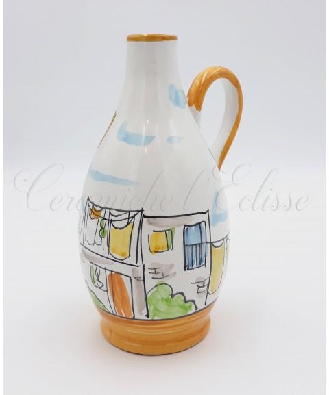 Oliera a Goccia in ceramica di vietri Con Beccuccio Metallico 16 Cm Decoro Vicoli di Napoli arancio