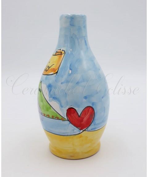 Oliera in ceramica vietrese Con Beccuccio Metallico azzurra Napoli