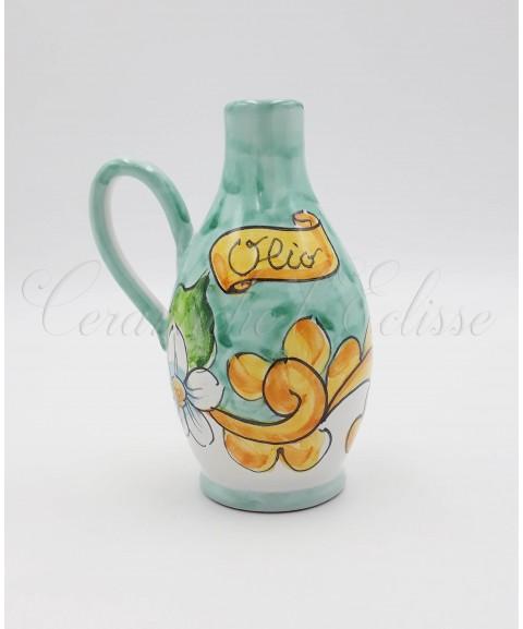 Oliera in ceramica di vietri Con dosatore Metallico a Goccia 16 Cm Decoro Barocco fiorato