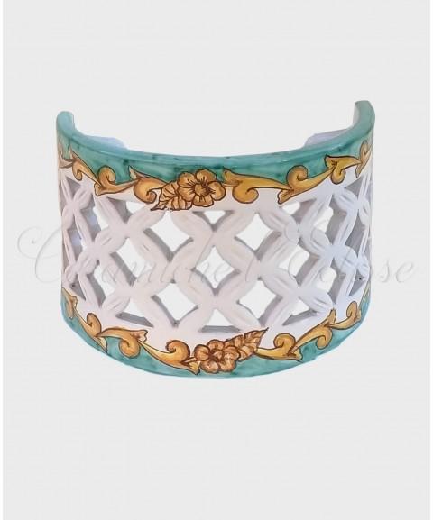 Applique da Parete Traforato in Ceramica di Vietri barocco verde
