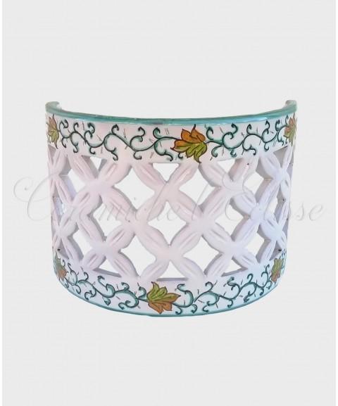 Applique da Parete Traforato in Ceramica di Vietri floreale verde