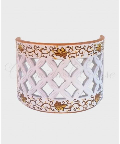Applique da Parete Traforato in Ceramica di Vietri floreale marrone