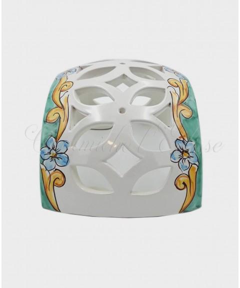 Applique da Parete Traforato Bombato in Ceramica di Vietri barocco verde con fiore