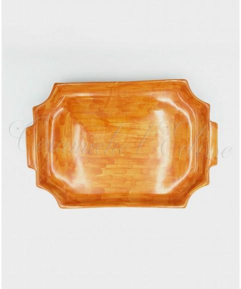 Vassoio in ceramica di vietri Porta tazzine, Picchiettato a Mano arancione