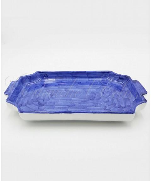 Vassoio in ceramica di vietri Porta tazzine, Picchiettato a Mano blu